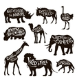 Wild Animals Lettering Black Icons Set vector image vector image