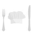 Cook hat fork and knife vector image