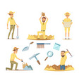 archaeologist characters at work cartoon vector image vector image