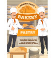 bakery pastry sweets bakers in bread shop vector image vector image