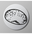 brain grey icon on round button with shadow vector image