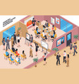 business center isometric composition vector image vector image