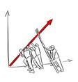 businesspeople help the red arrow chart up vector image vector image