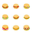 butcher shop icons set isometric style vector image vector image