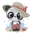 cartoon panda on beach in a straw hat vector image vector image