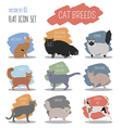 Cat breeds icon set flat style vector image vector image