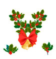 christmas decorative leaves holly and branches vector image vector image