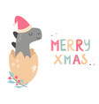 christmas holiday card with cute dino in santa hat vector image vector image