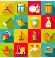Cleaning items icons set flat style vector image
