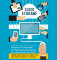 cloud storage flat banner computing technology vector image vector image