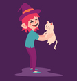 Cute Witch with Cat vector image vector image