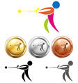 Different medal for hammer throwing vector image vector image