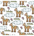 doodle seamless pattern with horses vector image