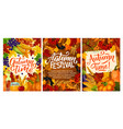fall fest posters with harvest and autumn leaves vector image vector image