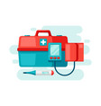 first aid kit equipment background vector image vector image