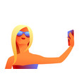 girl in sunglasses makes selfie vector image vector image