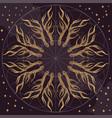 golden round ornament with deer antlers on dark vector image vector image