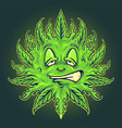 green weed emoji sun mascot vector image vector image