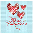 happy valentines day card with blue pattern vector image vector image