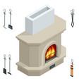 isometric fireplace brick stone isolated vector image