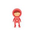 kid astronaut in pink space costume cute cartoon vector image vector image