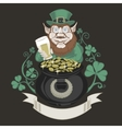 Leprechaun with pot of gold and holding a beer vector image vector image