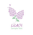 Lilac flower logo design text hand drawn