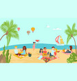 lovely beach ocean place lover couple relax vector image