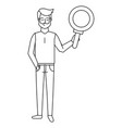 man with magnifying glass black and white vector image vector image