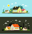 night and day flat design city with houses vector image