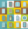 plastic window forms icons set flat style vector image vector image