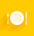 plate with cutlery on a yellow background vector image vector image