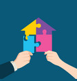 puzzle which forming a house vector image vector image