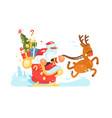 santa claus rides in sleigh vector image vector image