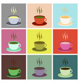 set icons in flat design cup of coffee vector image