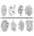 Set of Henna Paisley Mehndi Doodle Element vector image vector image