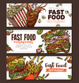 sketch fast food colorful horizontal banner vector image vector image