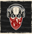 skull in headphones and red bandana on face vector image