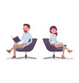 smart casual man and woman sitting with book vector image vector image