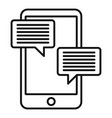 smartphone learning chat icon outline style vector image vector image