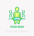 steam room icon man sitting in sauna on bench vector image