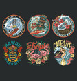surfing vintage colorful labels vector image vector image
