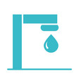 tap and water drop nature liquid blue silhouette vector image