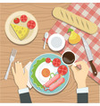 the quest of the restaurant is having breakfast vector image