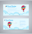 travel design flyer paper hot air balloon concept vector image vector image