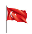turkey flag on a white vector image vector image