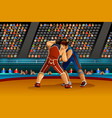 two male athletes wrestle in competition vector image