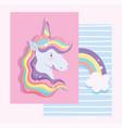 unicorn rainbow horned color decoration dream vector image vector image