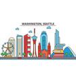 washington seattlecity skyline architecture vector image vector image