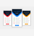 web plans and pricing template for comparision vector image vector image